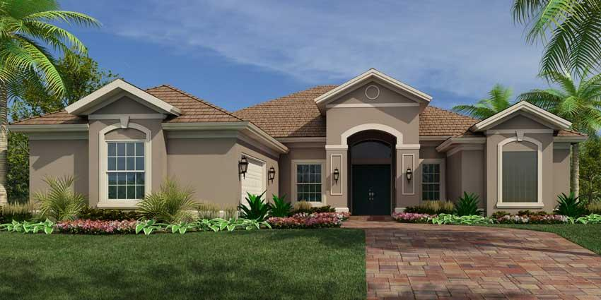 Sawgrass model 3 bedroom 2 bath new home in vero beach for Classic house elevation