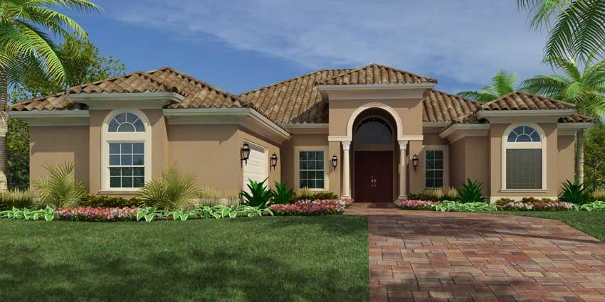 Sawgrass model 3 bedroom 2 bath new home in fort pierce for Mediterranean elevation