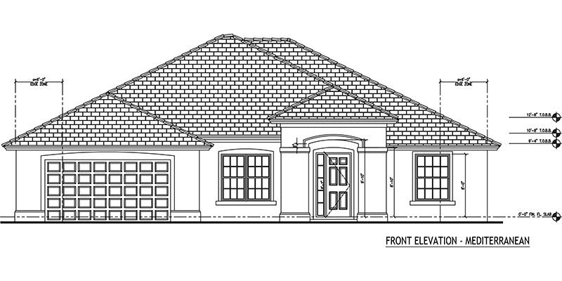 Tarpon model 3 bedroom 3 bath new home in port st lucie for Mediterranean elevation
